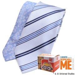 【Minionミニオン】ブルー・裏までミニオン・レジメンタルストライプのネクタイ