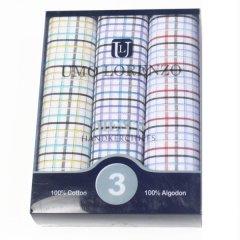 メンズハンカチ・カラフルチェック柄・綿100%・3枚セット