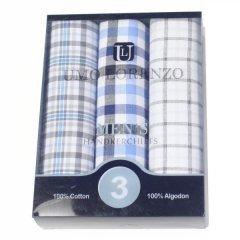 メンズハンカチ・グレーチェック柄・綿100%・3枚セット