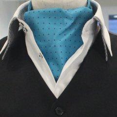 アスコットタイ メンズ用 ターコイズブルー×パープル紫 水玉ドット