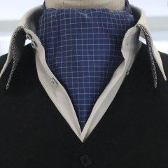 アスコットタイ メンズ用 ブルー×ホワイト チェック柄
