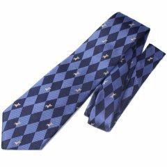 【富士桜工房】おすわり猫・ブルー・ダイヤ柄・日本製シルクジャカードの和風ネクタイ