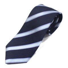 富士桜工房 ぼかし縞 ネイビー 日本製 シルクジャカード 和風ネクタイ