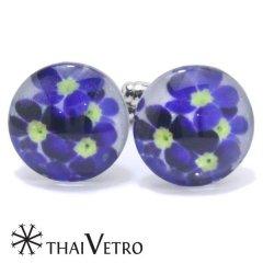 ThaiVetro ブルー パープル フラワー デザイン ガラス製 カフス カフスボタン カフリンクス