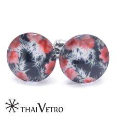 ThaiVetro レッド ブラック ハイビスカス ガラス製 カフス カフスボタン カフリンクス