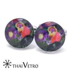 ThaiVetro カラフル パンジー ガラス製 カフス カフスボタン カフリンクス