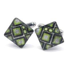 ThaiVetro 黄緑 マシュマロデザイン ガラス製 カフス カフスボタン カフリンクス