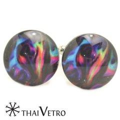 ThaiVetro ブルー ピンク マーブル模様 ガラス製 カフス カフスボタン カフリンクス