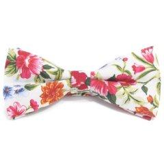 蝶ネクタイ ワンタッチ ホワイト ピンク フラワー 花柄 ボタニカル柄 ボウタイ