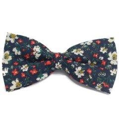 蝶ネクタイ ワンタッチ 簡単装着 ネイビー フラワー 小花柄 ボウタイ