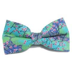 蝶ネクタイ ワンタッチ 簡単装着 グリーン ブルー 梅 花柄 ボウタイ