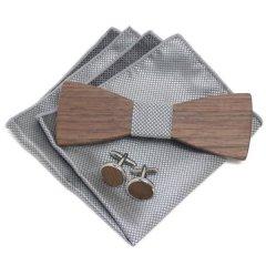 蝶ネクタイ ワンタッチ グレー ブロック チーフ 木製 ボウタイ カフス 3点セット