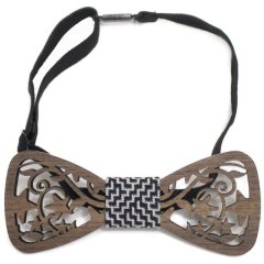蝶ネクタイ ワンタッチ 簡単装着 木製 彫刻 星 スター ボウタイ