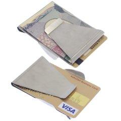 カードホルダー付 マネークリップ カード 両面 クレジット 海外 旅行 シルバー