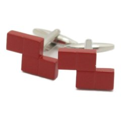 レッド ブロック デザインカフス カフリンクス カフスボタン