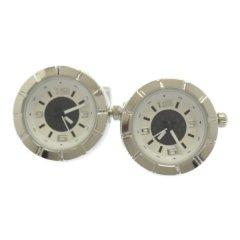 時計 シルバー ホワイト ラウンド カフス カフリンクス カフスボタン