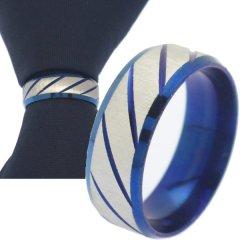 名入れ刻印サービス対象 ネクタイリング ブルー シルバー スラッシュライン タイリング