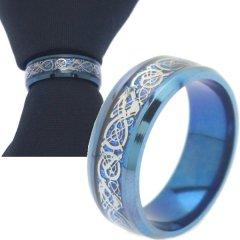 名入れ刻印サービス対象 ネクタイリング ブルー シルバー ドラゴンデザイン タイリング