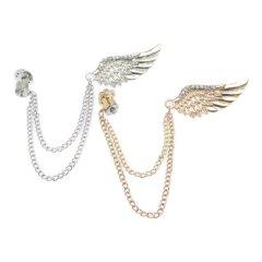 全2色 ラインストーン×羽根 Wing 羽 ウィング チェーン ラペルピン ブローチ