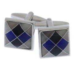 ブルー ブラック ダイヤ柄 カフス カフリンクス カフスボタン