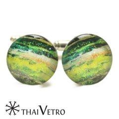 ThaiVetro グリーン グラデーション ガラス製 カフス カフスボタン カフリンクス