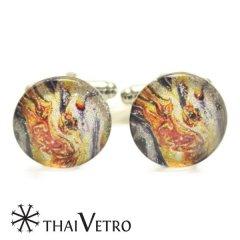 ThaiVetro マルチ マーブル ガラス製 カフス カフスボタン カフリンクス