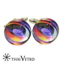 ThaiVetro ビビッドカラー グラデーション ガラス製 カフス カフスボタン カフリンクス