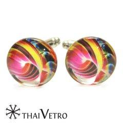 ThaiVetro ビビッドカラー ウェーブデザイン ガラス製 カフス カフスボタン カフリンクス