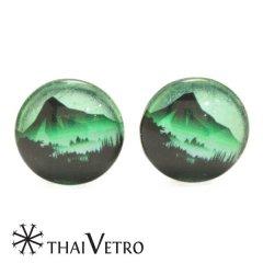 ThaiVetro グリーン 神秘デザイン ガラス製 カフス カフスボタン カフリンクス