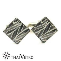 ThaiVetro ブラック シルバースラッシュライン ガラス製 カフス カフスボタン カフリンクス