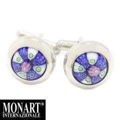 MONART ベネチアンガラス ブルー 白 ピンク 小花 ムッリーネのカフス カフスボタン カフリンクス