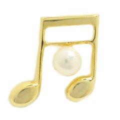 ラペルピン ゴールド 音符 音楽 好きさんへ アコヤ真珠 パール 5.0mm ブローチ タイタック