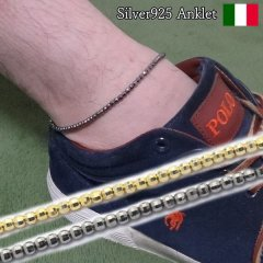 全2色 カットデザイン キラキラ感を楽しむ アンクレット メンズ 男性用 シルバー925 イタリア製