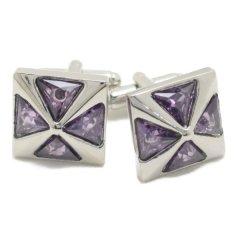ピラミッド パープル 紫 ストーン カフス カフリンクス カフスボタン