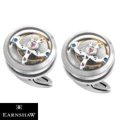 ホワイト&シルバー 時計 EARNSHAW ムーブメント 時計パーツ ラウンド カフス カフリンクス カフスボタン ES-005-C1