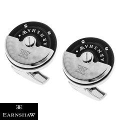 ブラック&シルバー 時計 EARNSHAW ムーブメント 時計パーツ ラウンド カフス カフリンクス カフスボタン ES-003-C1