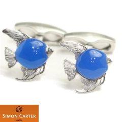 サイモンカーター 熱帯魚 魚 青い エンゼルフィッシュ ブルーアゲート カフス カフリンクス カフスボタン