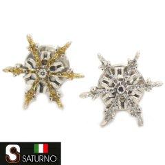 SATURNO サツルノ 全2色 ラペルピン 雪 結晶 グリッター タイタック ピンブローチ