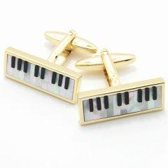 パール&オニキスのピアノのカフス(カフリンクス/カフスボタン)