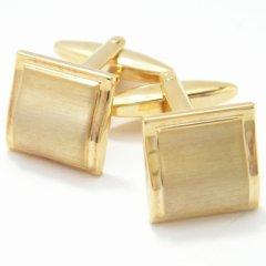 シンプル・スクウェアのゴールドカフス(カフリンクス/カフスボタン)