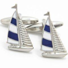 マリンブルーと白のヨットのカフス(カフリンクス/カフスボタン)