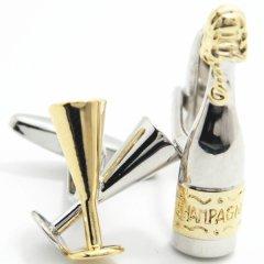 リアルなシャンパンとグラスのカフス(カフリンクス/カフスボタン)