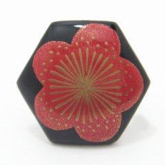 梅・漆塗・タイタック(ピンブローチ)