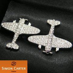 【サイモン・カーター】クリスタル飛行機spitfireのカフス(カフリンクス/カフスボタン)