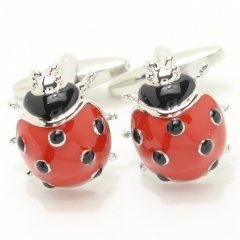 真っ赤なてんとう虫のカフス(カフリンクス/カフスボタン)