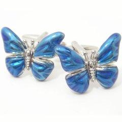 ブルーのエナメル蝶々のカフス(カフリンクス/カフスボタン)
