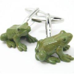 蛙にビックリひっくりカエル?!かえるのカフス(カフリンクス/カフスボタン)