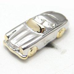 シルバー&ゴールドのオープンカーのカフス(カフリンクス/カフスボタン)