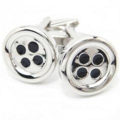 逆の発想で楽しいボタン型のシルバーカフス(カフリンクス/カフスボタン)