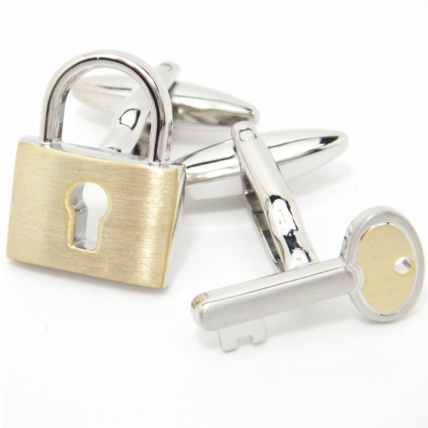 二つで一つ♪シルバー×ゴールドの鍵カフス(カフリンクス/カフスボタン)